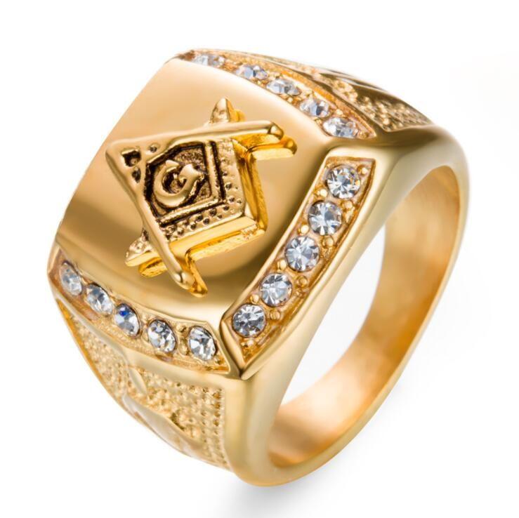 Herrenring aus Edelstahl mit Diamant Golden Masonic AG Titan Stahlring Herren Ri