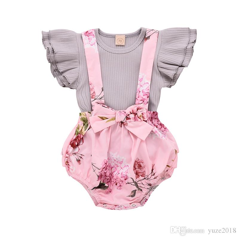 Baby Girl Floral Dress Infant Flying Sleeves Pink Romper Overall Little Sister Ruffles Tops+Bib Shorts Cute Set