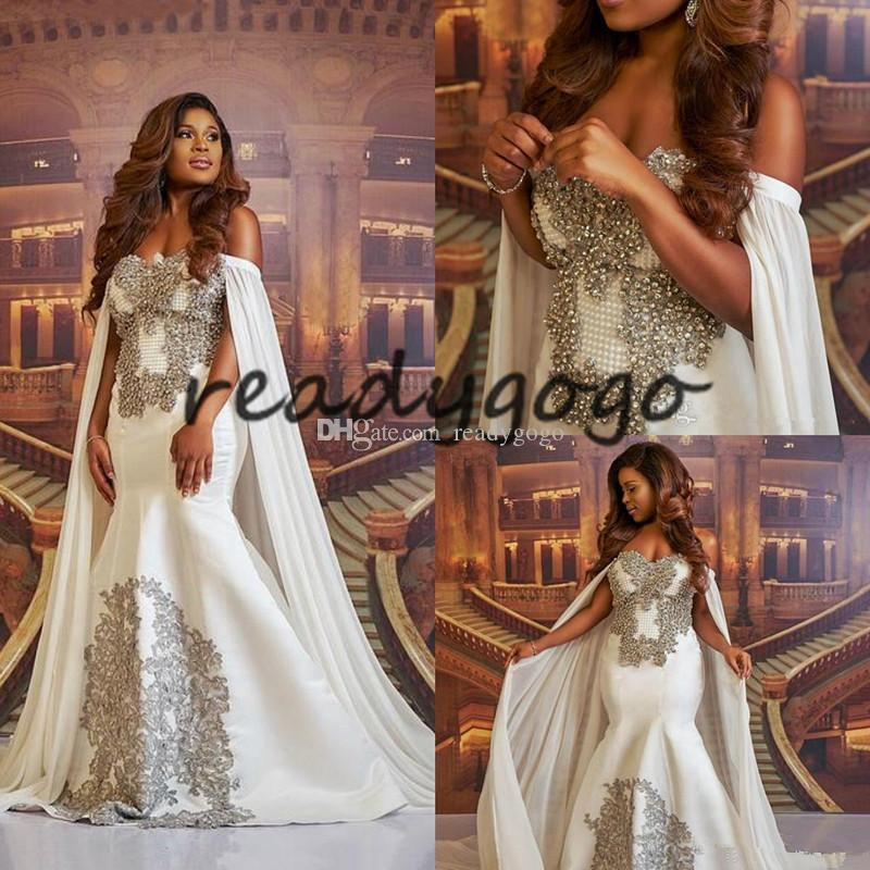 Plus Size Mermaid Wedding Dresses with Long Cape Sparkly Luxury Pearls Crystal African Off Shoulder Arabic Bridal Church Wedding Gown