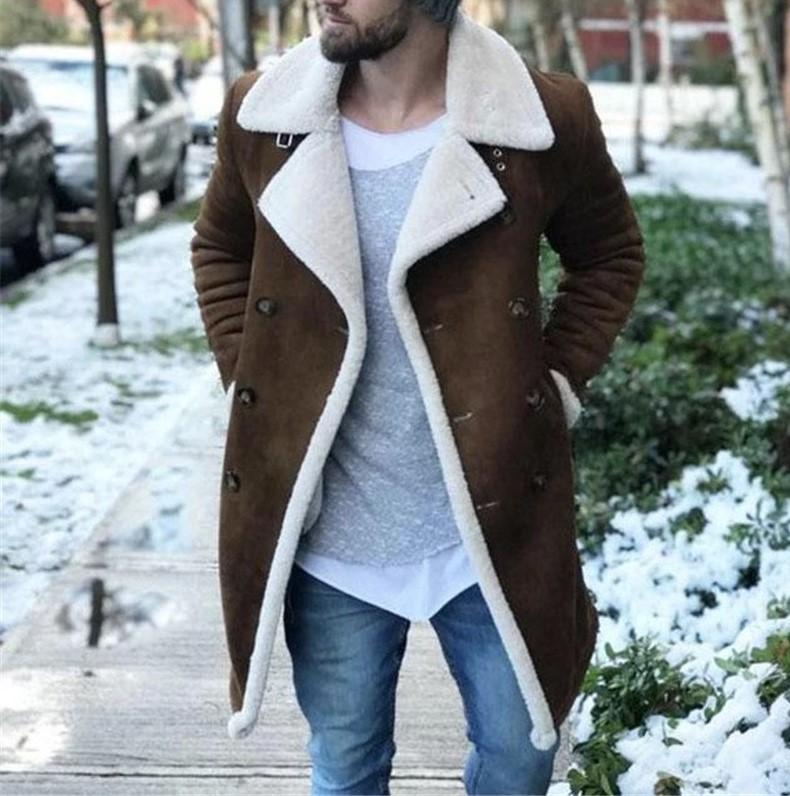 Mens inverno Designer Jacket Moda Thick lã quente Faux Leather Revestimento Coats Marca New Double Breasted Mens