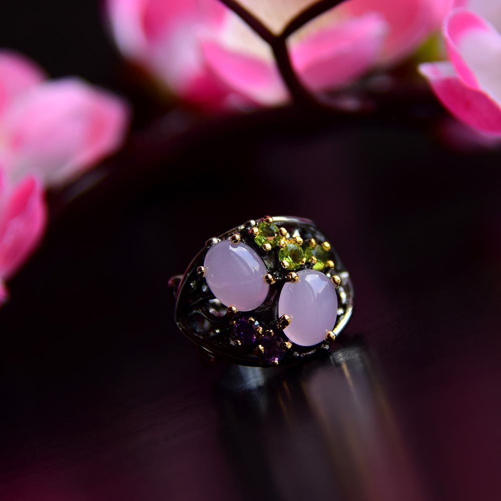 Fashion- 타원형 핑크 오팔 돌 반지 유행 총 블랙 보석 최고 품질 빠른 배달 여성 황동 보석 반지