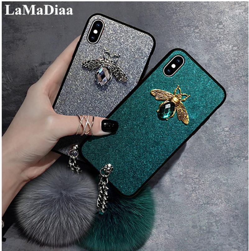 Atacado 3d luxo glitter diamante retro abelha bling macio case para iphone 6 6 s 8 7 plus x xr max capa