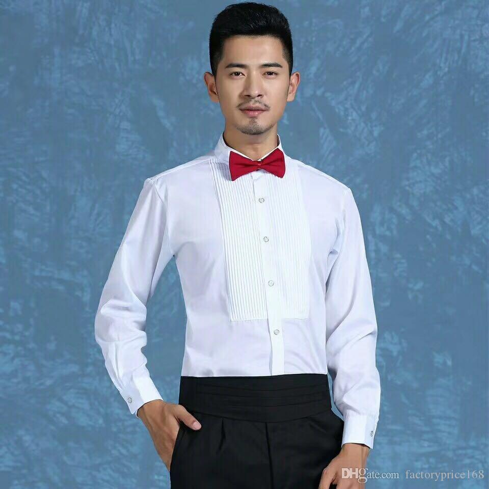Оптовые и розничные Groom высокого качества рубашки Шафер рубашка с длинным рукавом белая рубашка Groom аксессуары 01