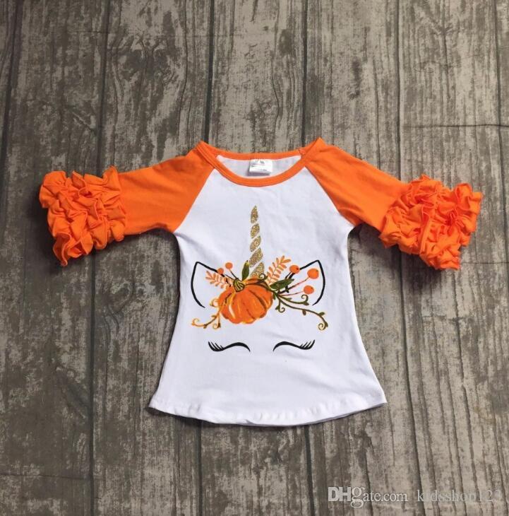 Nuevo Bebé Niños para la niña del unicornio calabaza de manga larga floral lateral Camiseta de algodón Top Clothes