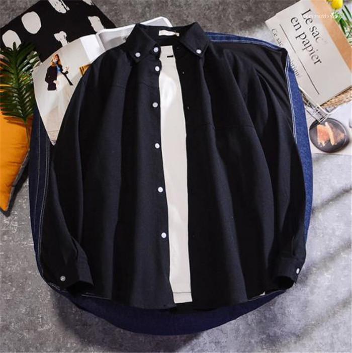 Katı Renk Homme Giyim Moda Stil Gündelik Giyim Erkek Sonbahar Desinger Casual Shirs Yaka Yaka Uzun Kollu
