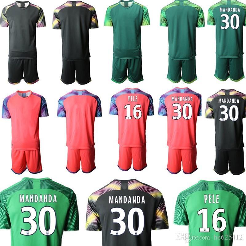 Custom France Marseille goalkeeper Kids Football Kits 30 MANDANDA 16 PELE Uniforms Sets Short Sleeve Soccer Jerseys Children