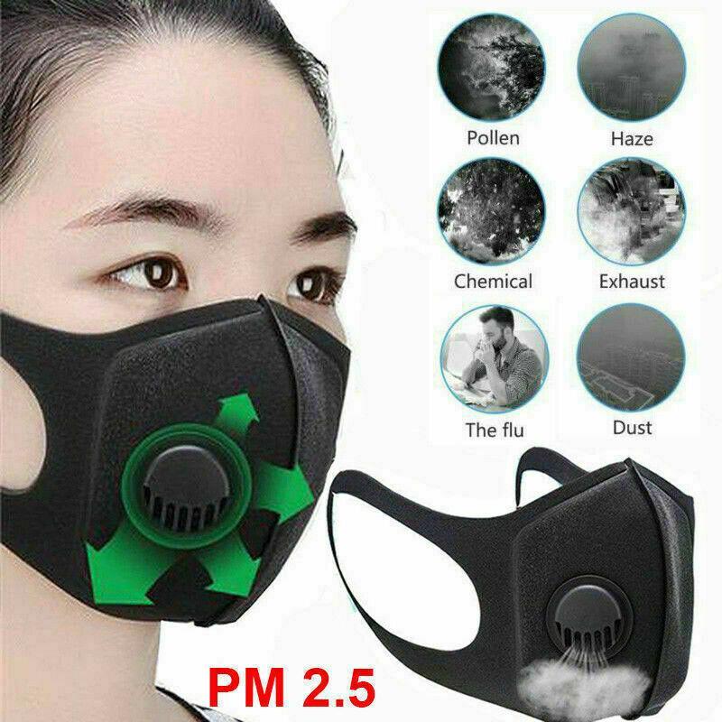 الجملة صمام قناع 75٪ الهواء تنقية الوجه قناع الفم غط تصفية قابل للغسل مكافحة الغبار الضباب التنفس الوجه أقنعة تصفية قناع