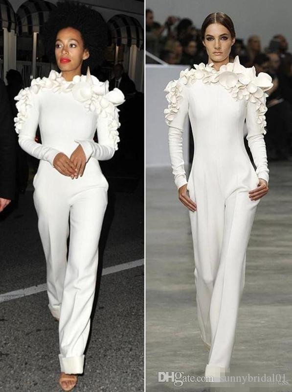 2018 New Arrival Celebrity Dresses White Leg Jumpsuit Long Sleeves High Neck with Flowers Formal Party Evening Dresses Custom Made