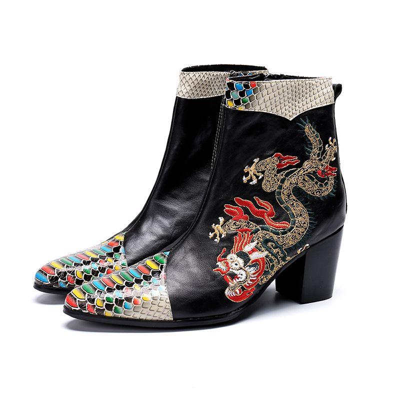Черный красный натуральная кожа мужские сапоги роскошные вышивка серпантин острым носом дизайнер Botas для человека молния одевания обувь