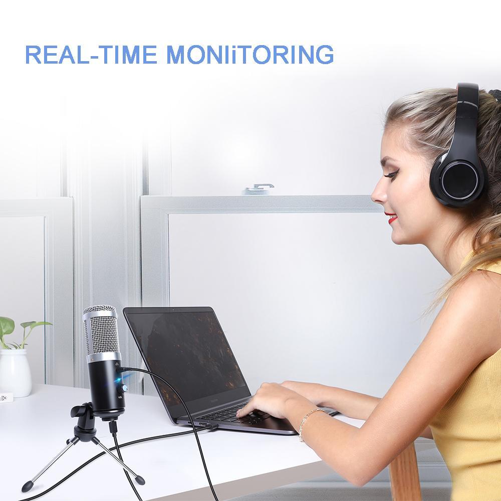 Professional Microphone Condenser for Computer Laptop PC USB Plug +Stand Studio Podcasting Recording Microfone Karaoke Mic fashion