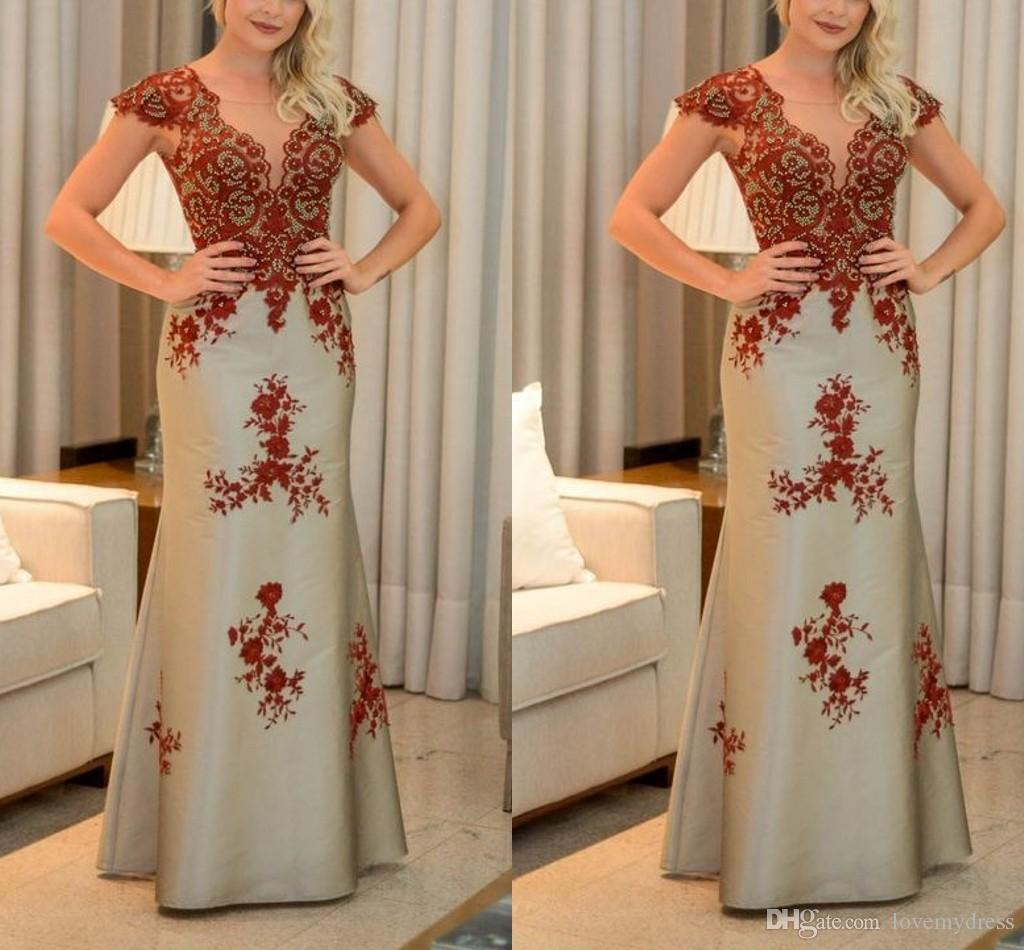 Expensive Embroidered Lace Evening Dresses Mermaid 2019 Designer Bateau Cap Sleeve Dresses Evening Wear Prom Party Dress Women 2019