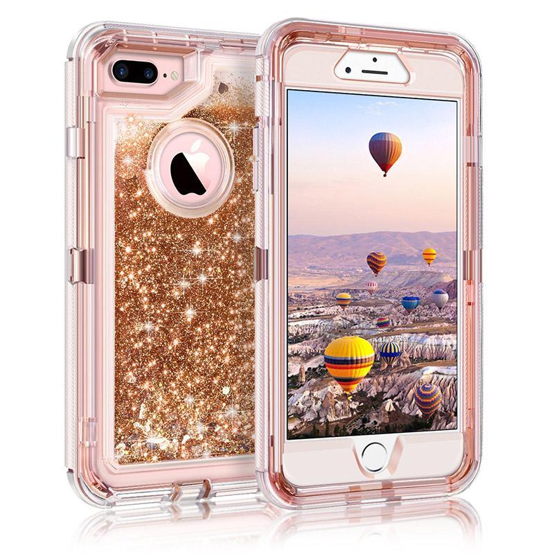 Para el caso de Iphone XR XS 3en1 caja del teléfono del Defensor líquido con brillo la arena movediza de la contraportada con el enchufe del polvo para el iPhone XS MAX
