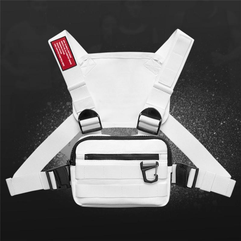 Hombres Bolsa cintura táctica táctico paquete de funciones de Hip Hop del chaleco de camuflaje Pecho Pecho Rig paquete de caza al aire libre Bolsa Negro Blanco