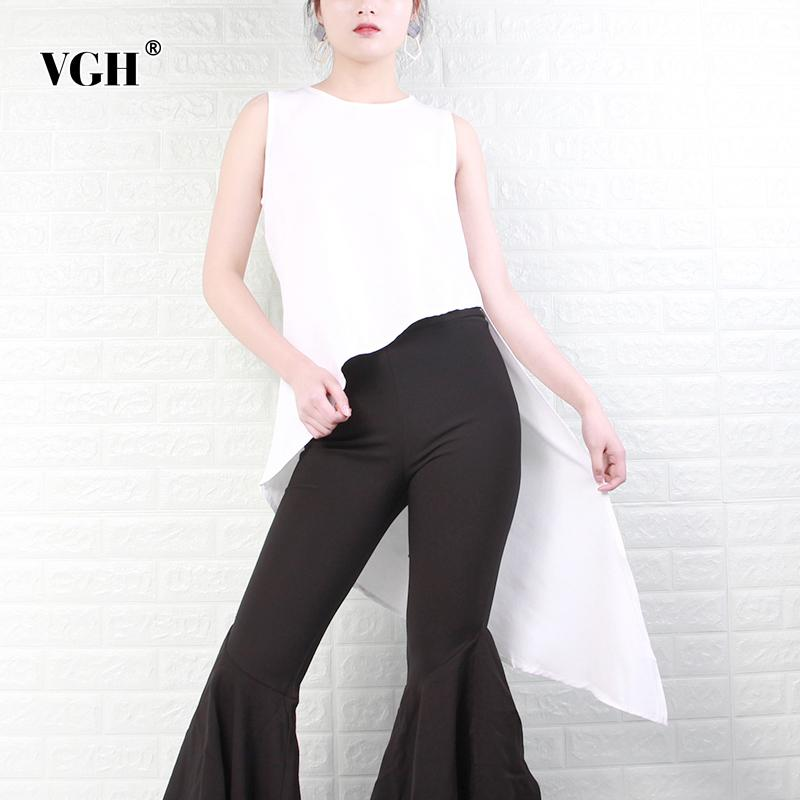 VGH White Chiffon Asymmetrical Shirts For Women O Neck Sleeveless Irregular Hem Blouses Female 2020 Spring Fashion New Clothing