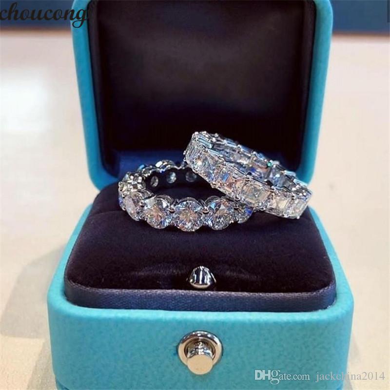 I più venduti Mai Fade Sparkling monili di lusso argento 925 principessa Cut Topazio bianco diamante della CZ promessa sposa del regalo dell'anello