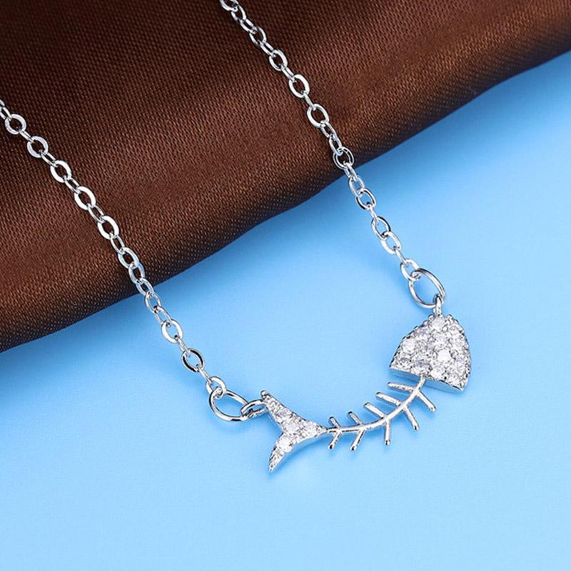Moda Balık Kemik Tasarım Kolye Kolye Kişilik Sentetik Rhinestone Takı Otantik 925 Ayar Gümüş Zincir Kolye