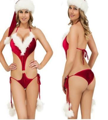 Frauen Sexy Set weibliche Unterwäsche Weihnachten Red One Piece Briefs Sexy Pyjamas Drei-Punkte-Typ Sexy Sets