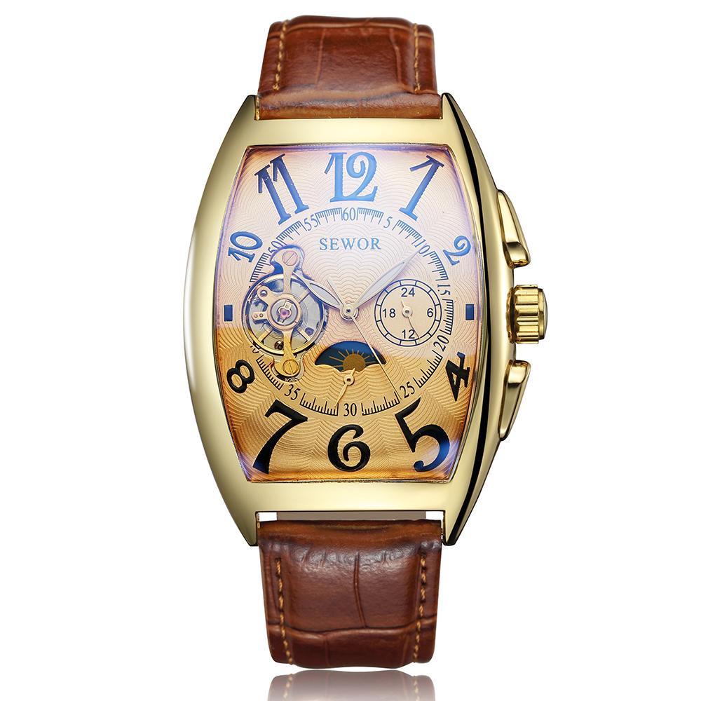 Vintage İskelet İzle Erkekler Otomatik Mekanik saatler Öz Sarma Deri Bileklik Ay Evresi Erkek Saat Relogio Eril