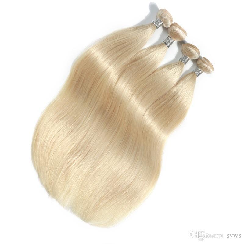 Bleach Blonde Color Malaysian Straight Hair Extension 10-30 Inch 100% Human Hair Weave Remy Hair Weaving
