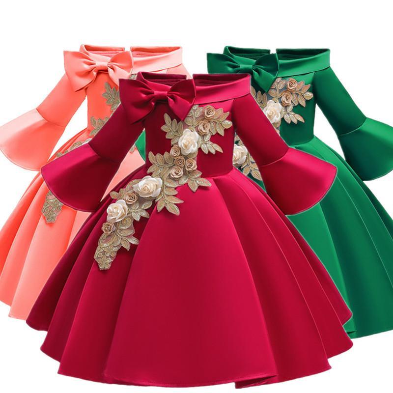 Robe manches demi sans épaules satin Elegent dentelle filles fleur princesse formelle de mariage Pageant Robes Y200317