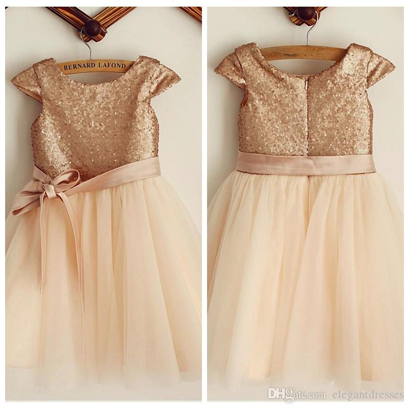 2019 Bling Bling Rose Gold Sequins A-Line Flower Girls Dresses Ribbon Short Formal Kids Party Gowns Tea-Length Tulle Birthday Gowns Simple