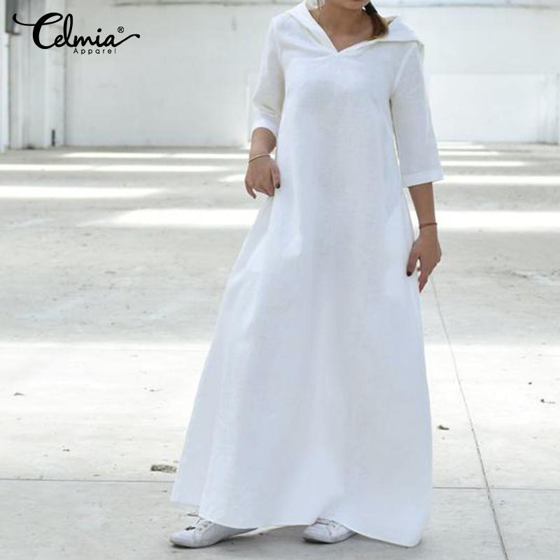 2019 Verão Celmia Mulheres Vestido Plus Size sólido shirt 3/4 com capuz de linho longo vestido maxi Femme férias Vestidos Oversized