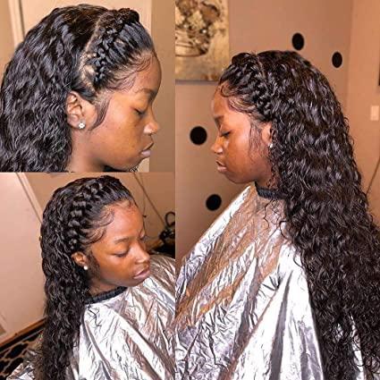 360 de encaje frontal pelucas peluca de la onda profunda de Negro Mujeres de antes desplumados 150% Densidad 360 del frente del cordón rizado brasileño de la Virgen