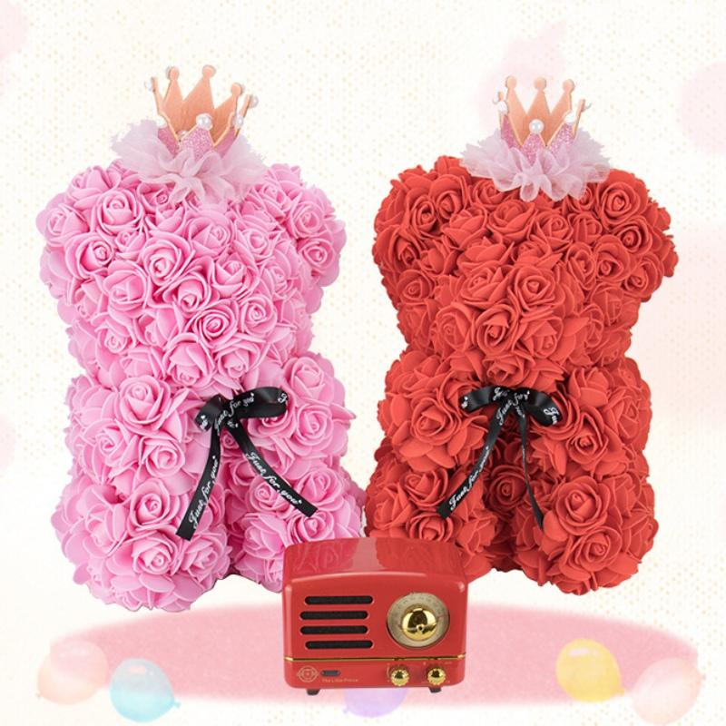25CM Foam Artificial Rose Valentine's Day Gift Teddy Bear With Crown Ribbon Bow Eternal Flower Doll Romantic Anniversary