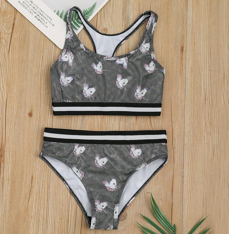 Les filles les enfants de la mode sport licorne imprimé Tanks Crop enfants de maillot de bain rayé Top + maillot de bain ensemble A3128