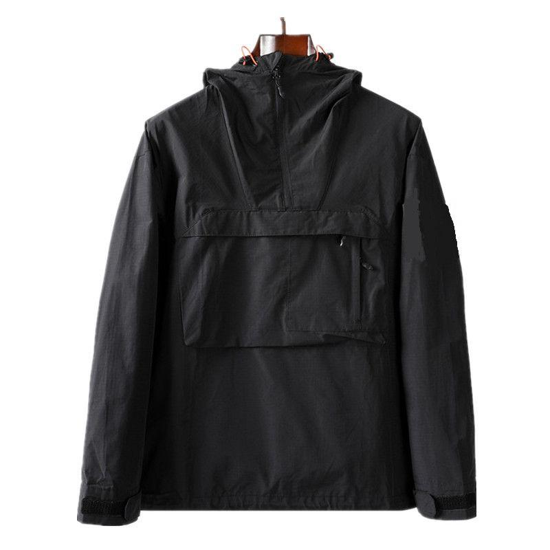 topstoney 2020 New hooded half zip pocket jacket Youth fashion European and American casual jacket Men's coat Nylon fabric Men's sheath