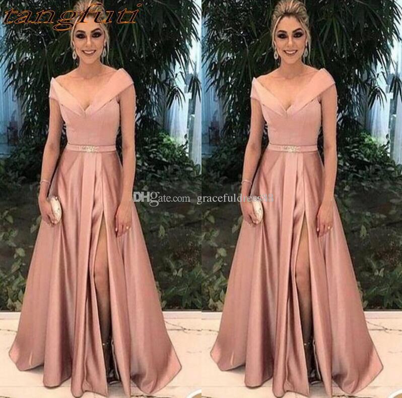 Compre Elegante Madre De La Novia Vestidos Para Bodas Vestidos De Fiesta Una Línea De Satén Plisado Formal De Madrina Novio Vestido Largo Desgaste A