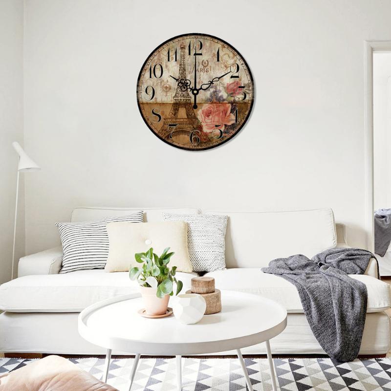 빈티지 라운드 자동 벽 시계 파리 타워 홈 오피스 대형 룸 장식을 매달려