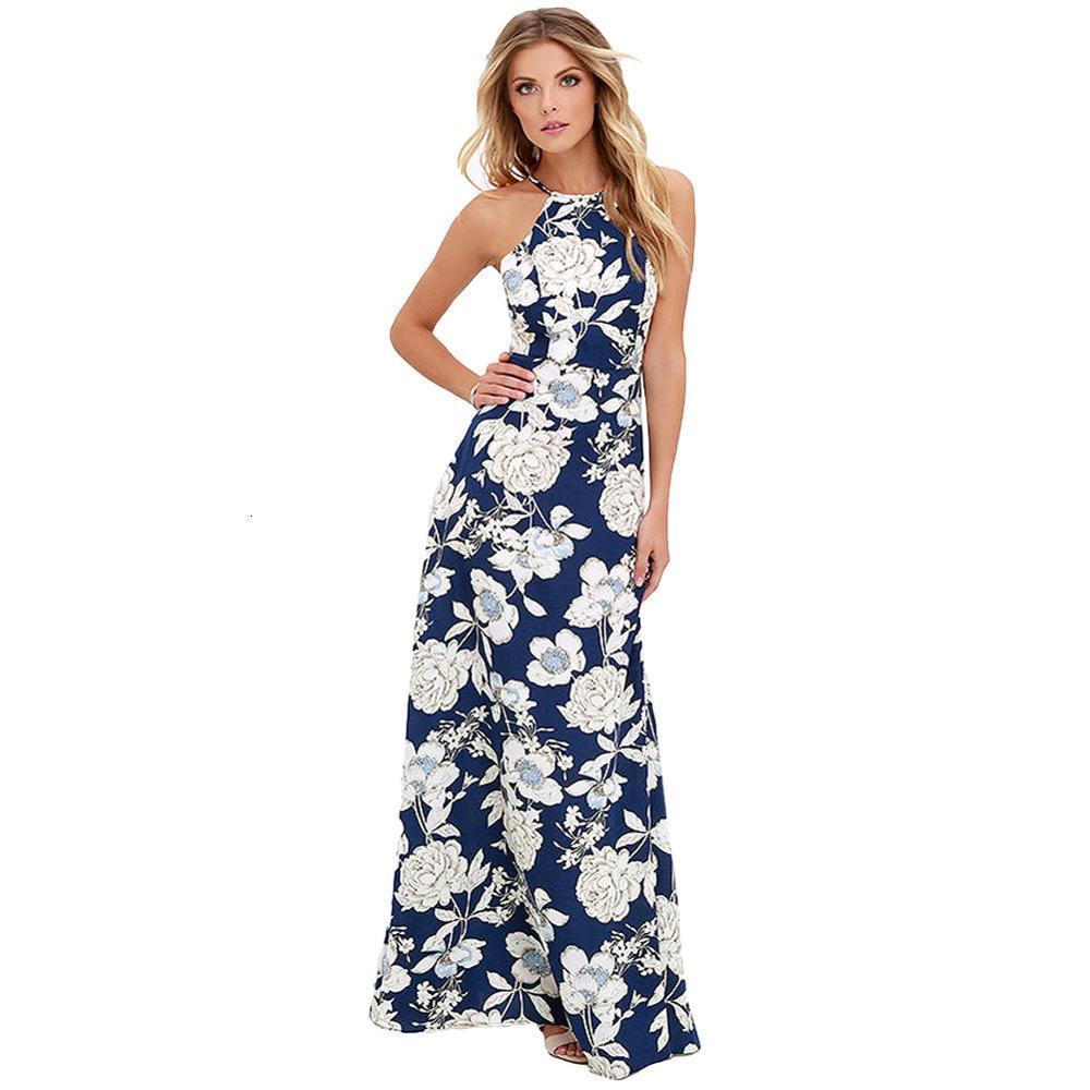 Boho Women Summer Dress Floral Print Halter Sleeveless Backless Holiday Beach Dress 4xl 5xl Plus Size Maxi Long Sundress