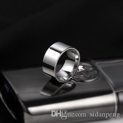 2019 New Punk Titanium Steel 316L Fashion Male 10mm Jewelry Classic Gold Silvery Wedding Couple Rings For Men Women Christmas Party Gift R54