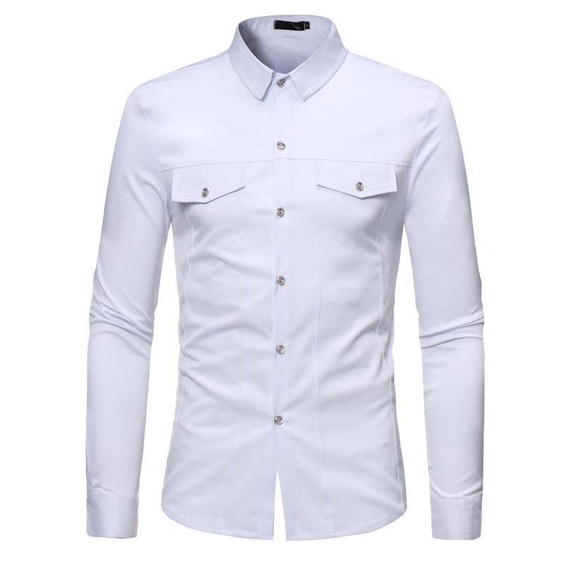 Doble bolsillo blanca camisa de los hombres a estrenar 2020 delgada de la manga larga apta para hombre camisas dRSS botón ocasional de la camisa hacia abajo Hombre Camisas Social