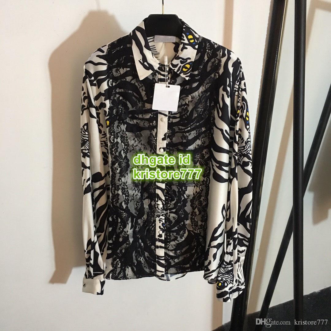 Kadın Lüks Tasarımcı Hayvan Baskı Dantel Gömlek Moda Yaka Boyun Panelli Uzun Kollu Yüksek Kalite Özelleştirmek Cap Sleeve Pisti Gömlek