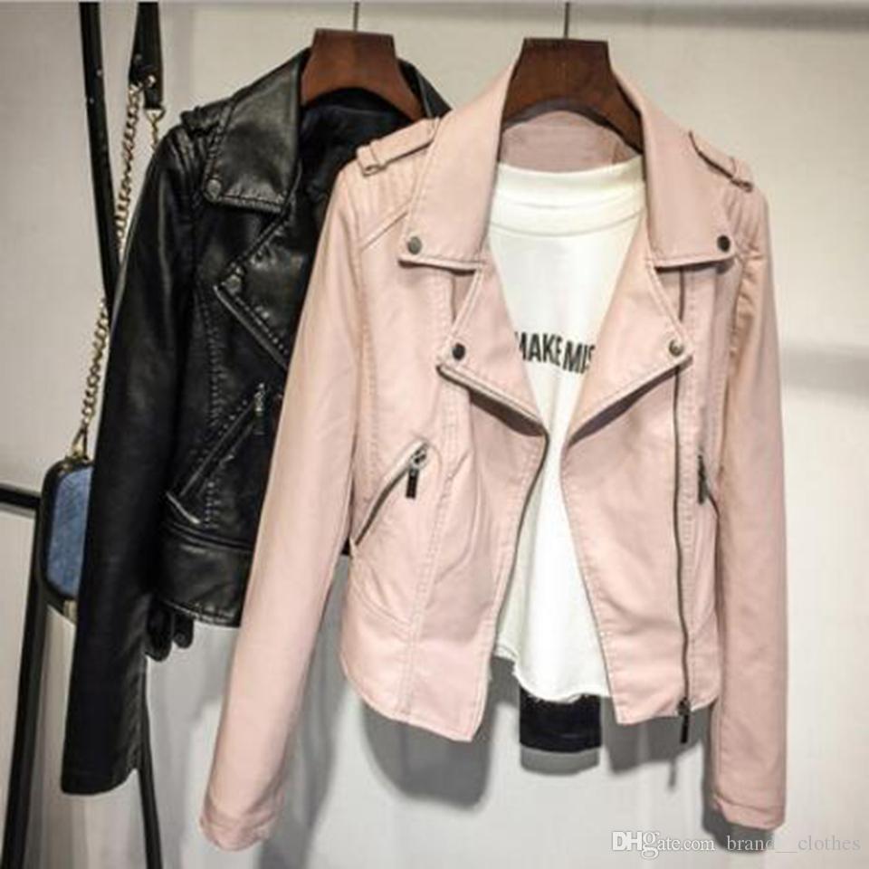 Donne primavera e autunno nuovo stile autentico personalità della moda sottile cappotto di pelle moto europeo risvolto europeo e americano / S-XL