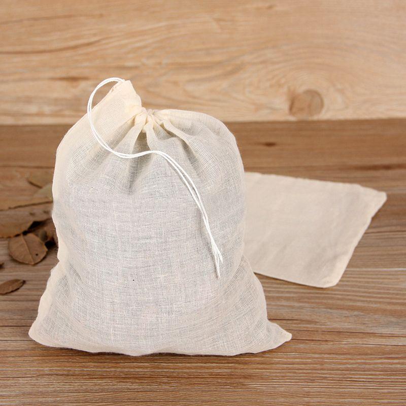 Filtro reutilizable 10pcs algodón Alimentos Squeeze Bolsa Tuerca bolsa de leche Jugo de acoplamiento de la rejilla del filtro de tamiz fría Brew café de filtro 10 * 15cm