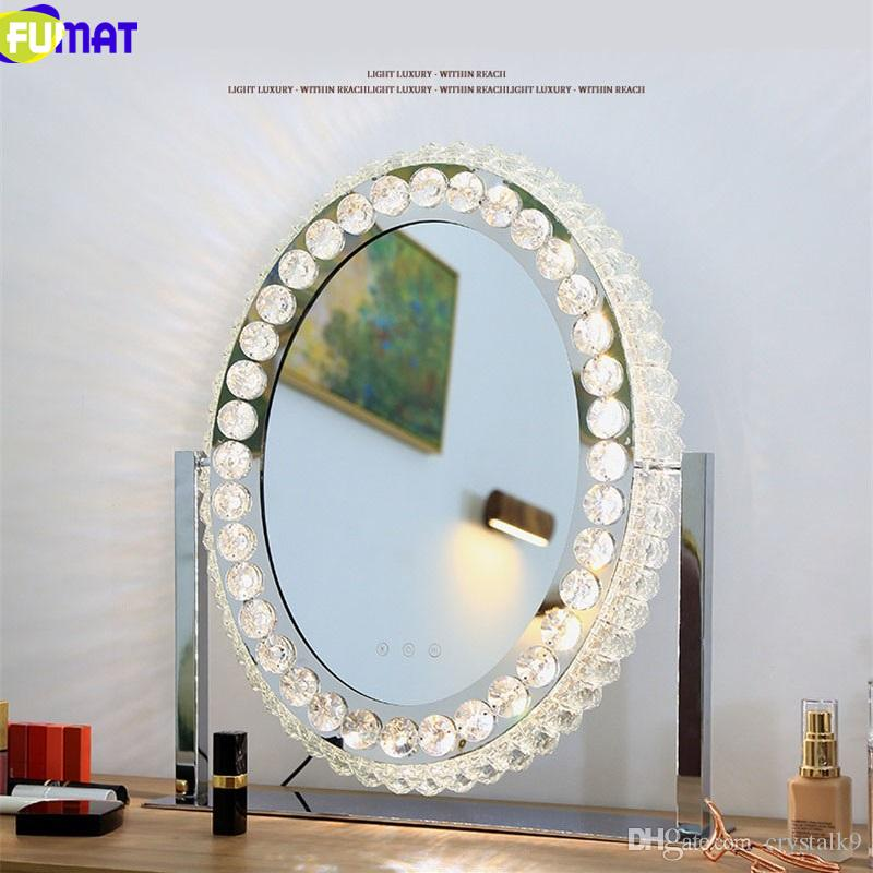 FUMAT Crystal Mirrors Stepless Dimming LED Desk lamp Makeup Vanity Mirror Table Light Ins Modern Decoration Lamps Lens Headlight