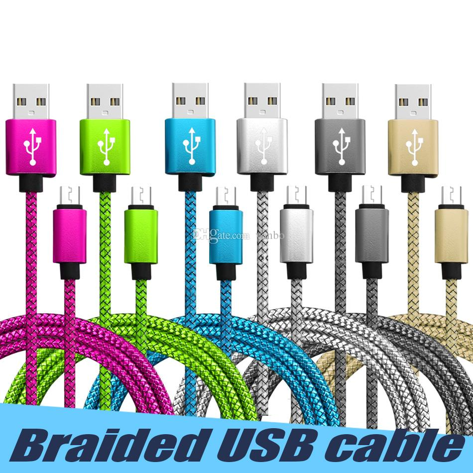 Metal Housing Braided Micro USB Cable Data Sync Cord USB C Typc C High Speed Charging cable 1M 2M 3M For Samsung Huawei Andriod phones