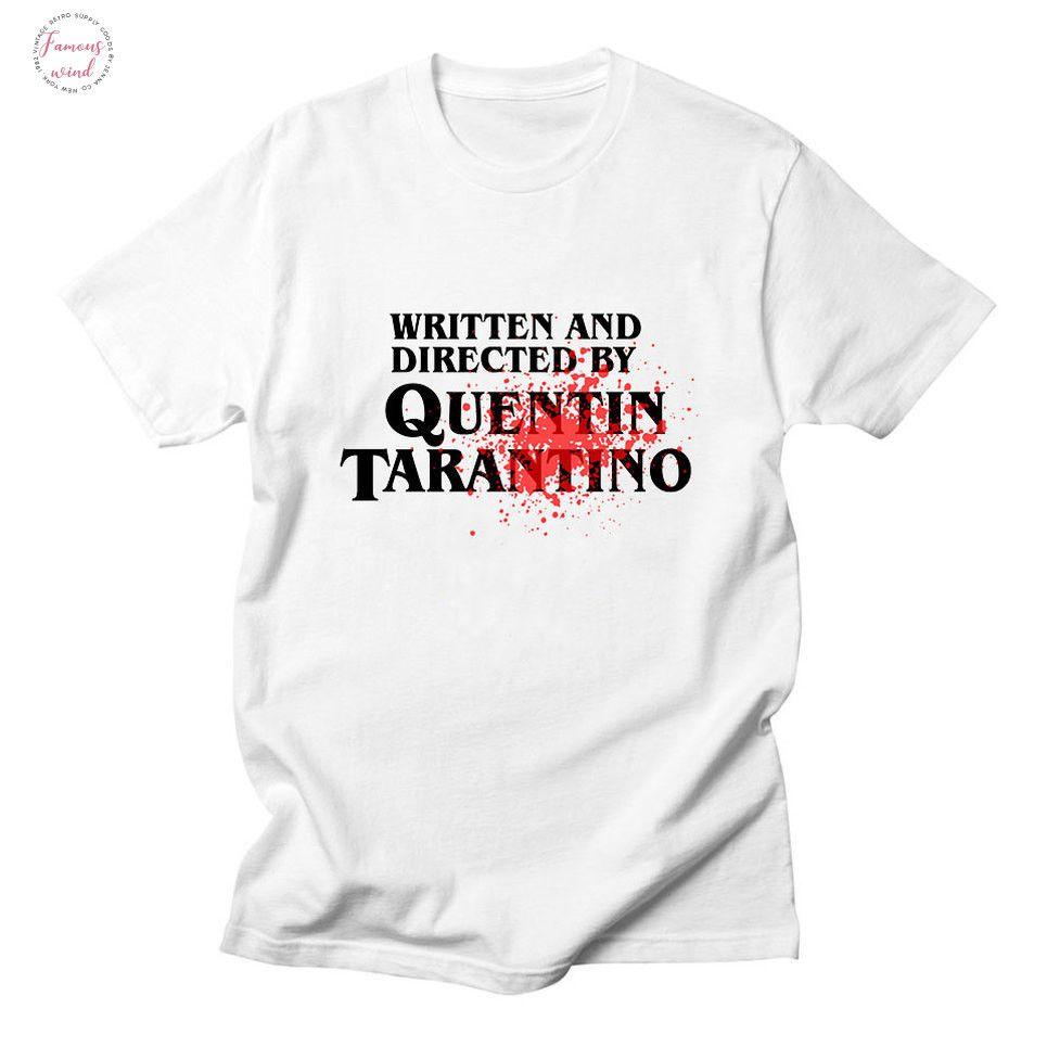 Womens T escrito e dirigido por Quentin Tarantino shirt para mulheres Verão Novo Estilo Europeu Moda Branca Camiseta de algodão Mulheres