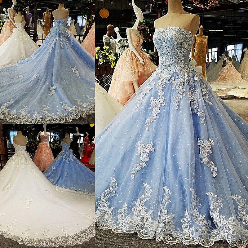 Abiti Da Sposa Colorati.Acquista Blu Ball Gown Principessa Abiti Da Sposa Colorati Senza