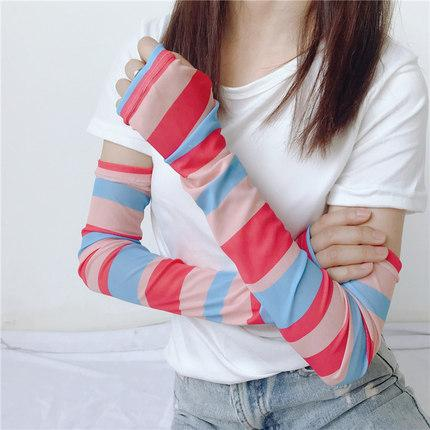 Fashion-driving summer sunscreen sleeves for driving cool ice silk arm warmers elastic long gloves Long Gloves Sun UV Protection Arm