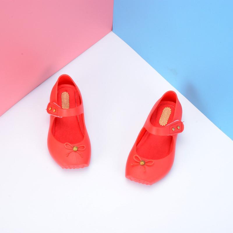 New Fashion Girls Red Jelly Chaussures de PVC Mode enfants Ballet Princess Beach Candy Sandales Chaussures enfant en bas âge Jelly SH064
