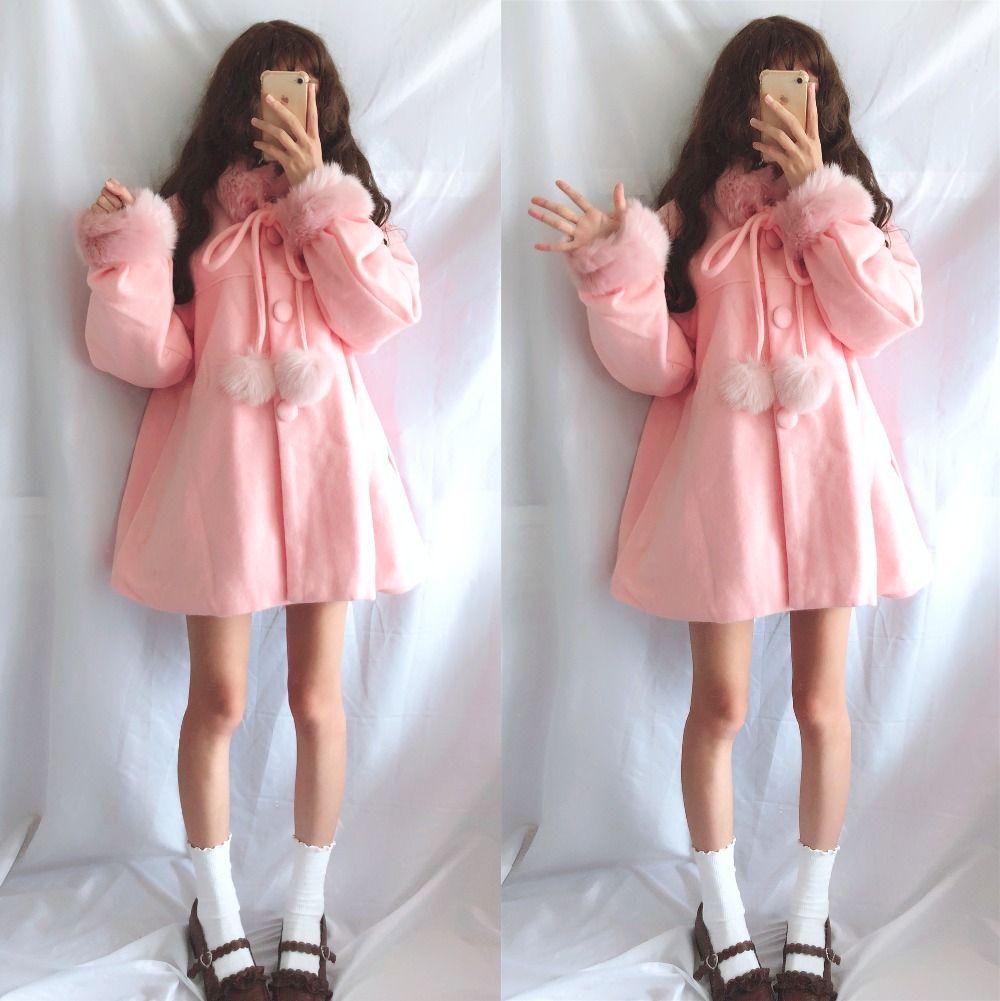 2019 Winter Japanese Retro Sweet Cute Soft Girl Girl Lolita Long Thick  Casual Fashion Temperament Faux Fur Coat Female From Wochanmei, $78.69