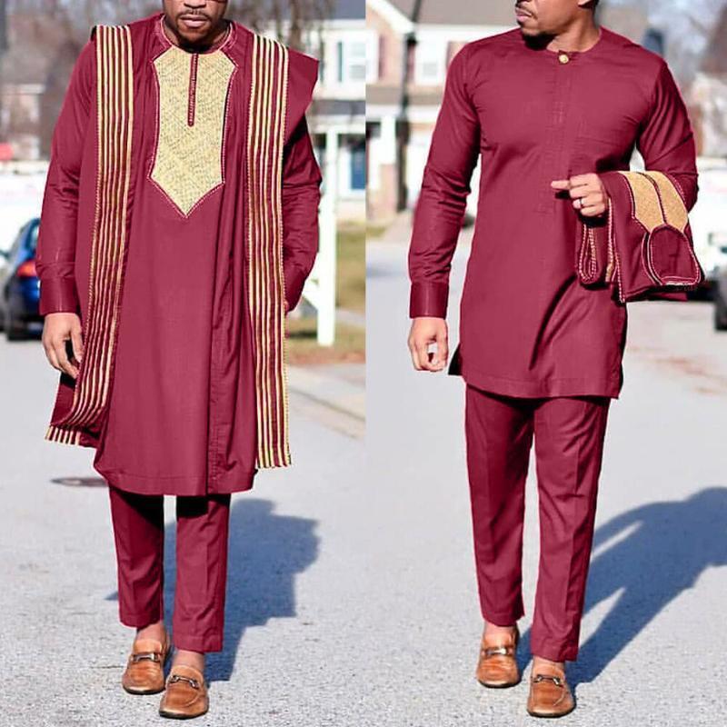 Agbada africana HD traje para los hombres bordó los trajes de Dashiki Tapa camisa pantalones 3 PCS Conjunto Boubou Africain Homme musulmana Conjuntos