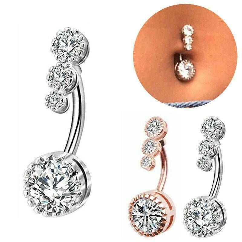 Crystal vientre piercing del joyería de los anillos barra barbell gota cuelga los anillos del ombligo Nombril Ombligo anillo de las mujeres de los hombres Cuerpo