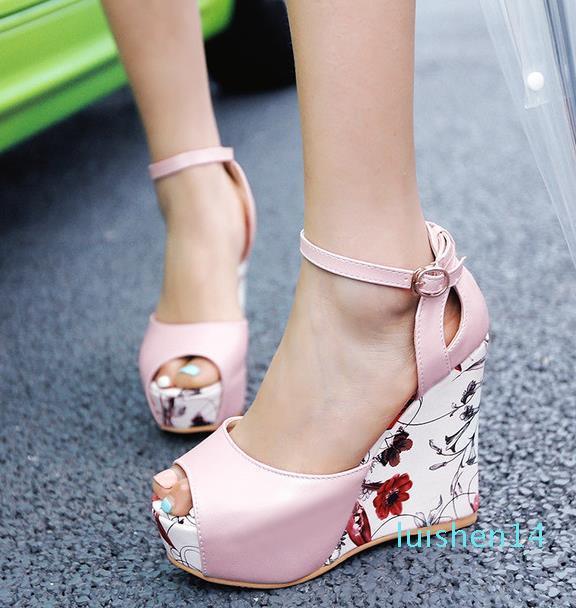 ViVi Lena sweet floral prints patchwork pweep toe shoes women platform wedges heels sandals pink blue white size 34 to 40 l14