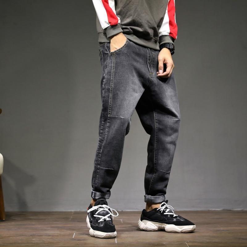 Erkek kot vintage tam boy erkek manşetleri artı boyutu düz renk mavi harem pantolon kot pantolon 2021 erkek giysileri OMP205002