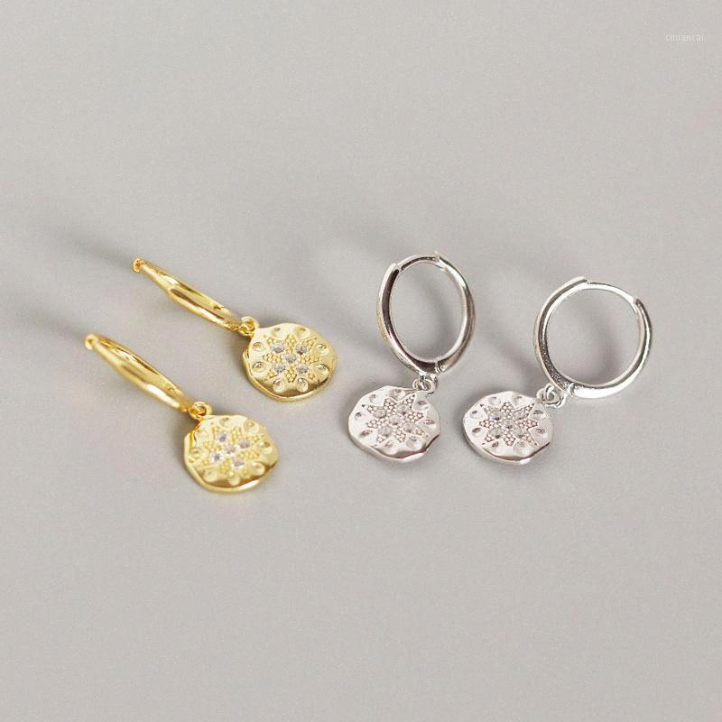 Las mujeres pendientes moneda redonda pendientes de plata esterlina 925 Estilo Moda plata del oro cuelga los pendientes de señora Jewelry Gift1 xvEM #